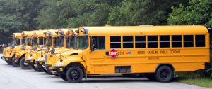 Picture of Several Yellow School Buses from the Side