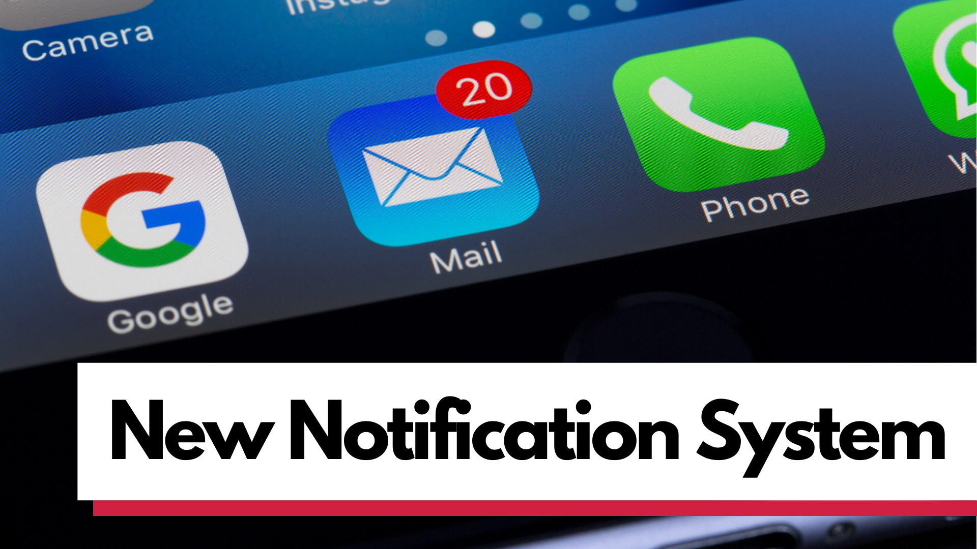 """graphic of phone screen with """"New Notification System"""" text"""