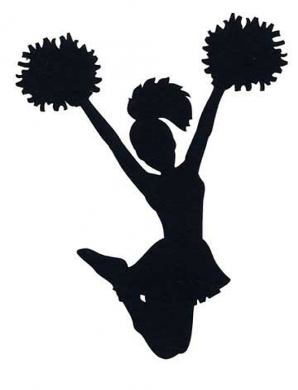 black silhouette of jumping cheerleader with knees bent