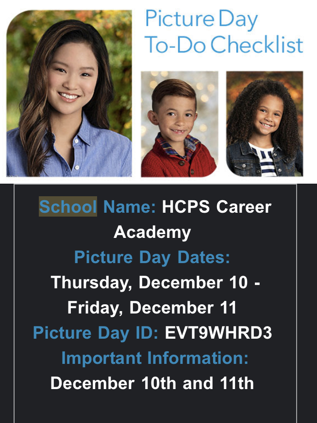 Picture Day on Dec 10th and 11th