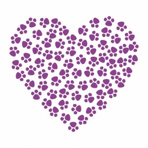 Heart Made of Purple Paw prints