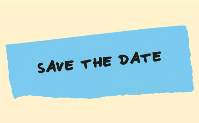 Save the Date ripped blue post-it note on yellow background