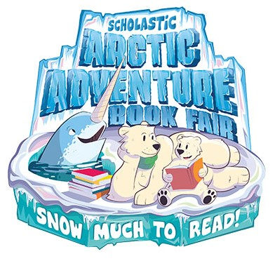 Scholastic Arctic Adventure Book Fair Snow Much to Read! Two polar bears and a narwhal reading books.