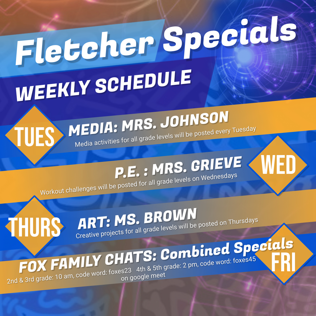 Fletcher Specials Weekly Schedule