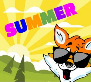 Fox logo with sunglasses on a sunrise background with the word Summer