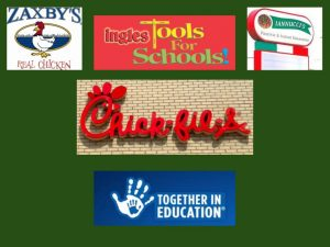 Zaxby's, Ingles Tools for Schools, Iannucci's, Chick-fil-a and Harris Teeter Together in Education symbols
