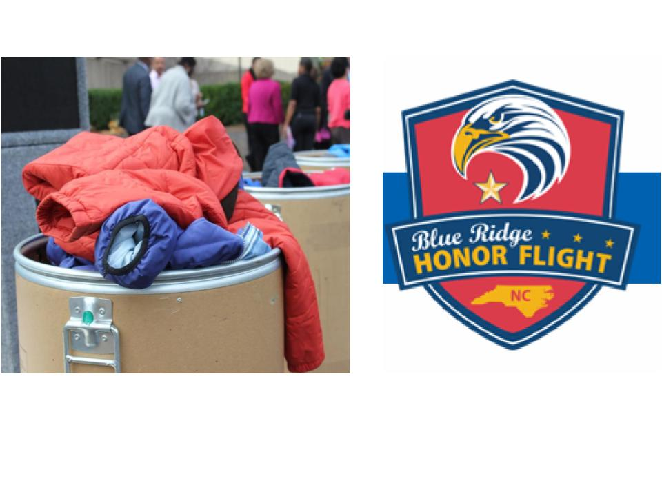 Coats displayed in a box as well as an eagle logo for the Blue Ridge Honor Flight Program