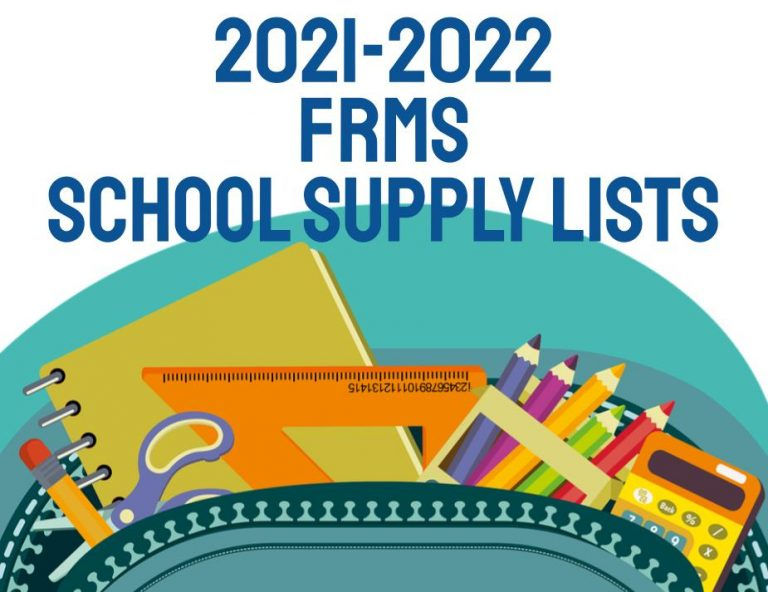 School Supplies Clipart with text that says 2021-2022 FRMS School Supply Lists