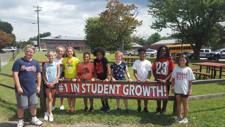 Students in front of sign
