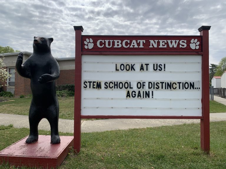 Photo of School Marquee that reads Cubcat News Look at Us! STEM School of Distinction...Again!