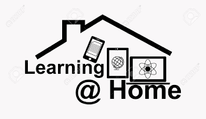 Clipart image of a house with mobile devices that reads Learning @ Home