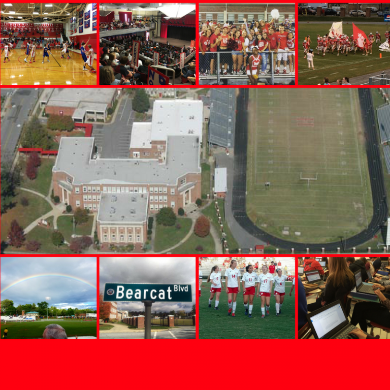 Hendersonville High School aerial view, street sign, soccer team, students on Chromebooks, symposium, rainbow over field, students in stands, basketball team, football team