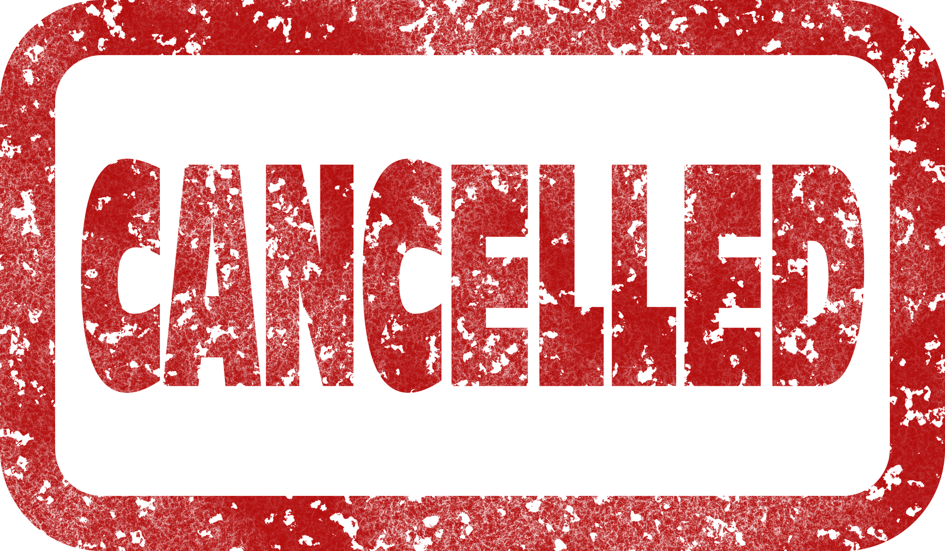 Cancelled sticker in red and white.