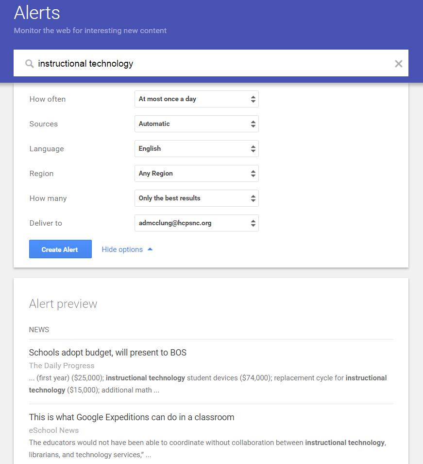 Google Alerts sample screen