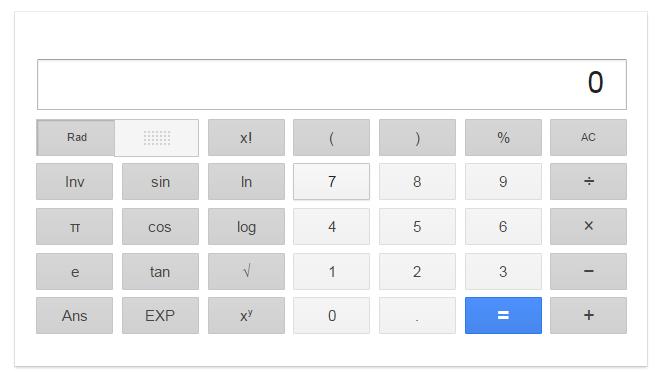 Google calculator search screen