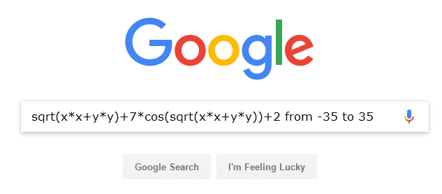Google equation search sample