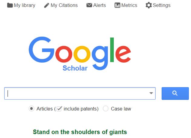 Google Scholar screen sample
