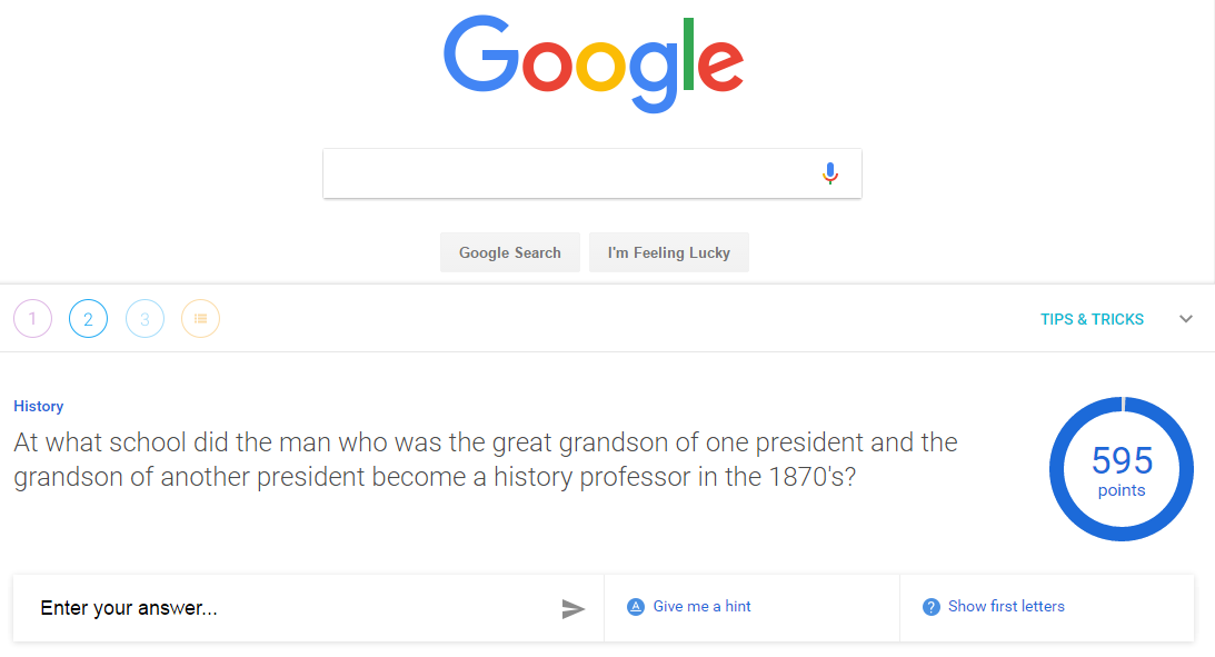 A Google A Day screen sample