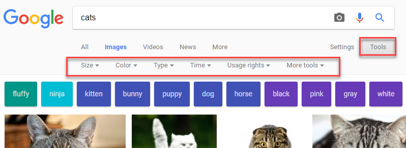 Tools in Google Search