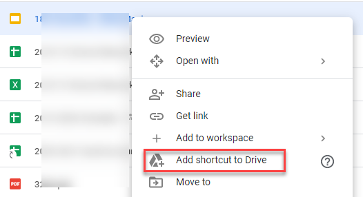 Add shortcut to Drive