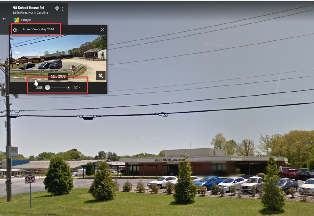 "Street View in Google showing the ""time travel"" toggle."