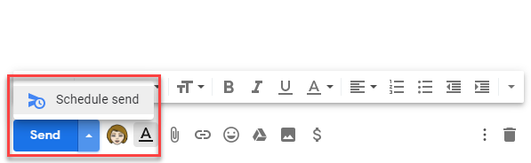 Schedule email from the Send menu in Gmail