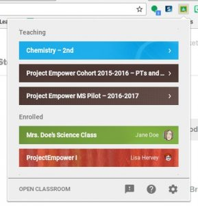 Share to Classroom sample screen