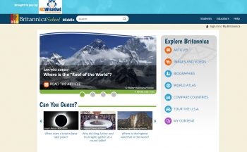 Sample Britannica Home Page
