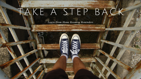 """Person standing on stairs with title """"Take a Step Back"""""""