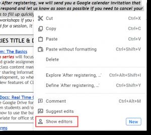 Show editors button in Google Docs