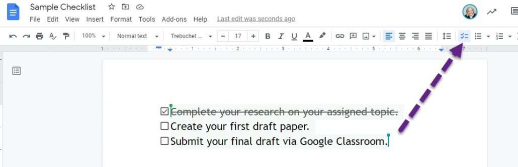 Google Docs Checklist