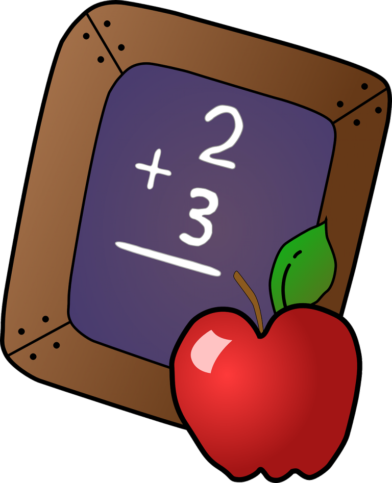 Blackboard with 2 plus 3 written on it, next to a red apple