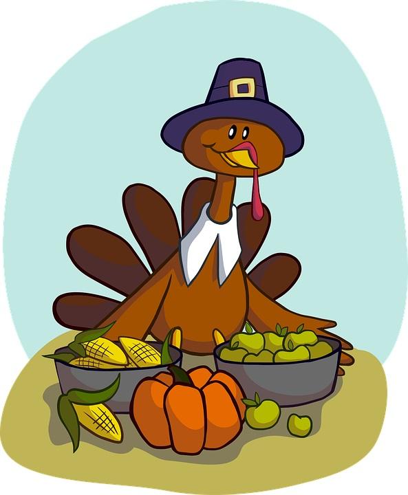 Thanksgiving Turkey enjoying a feast.