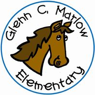 The school logo of Glenn C. Marlow Elementary. There is a cartoon horse in the center with the text surrounding the horse.