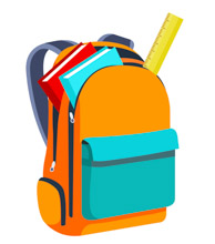 Books and ruler in an open orange backpack