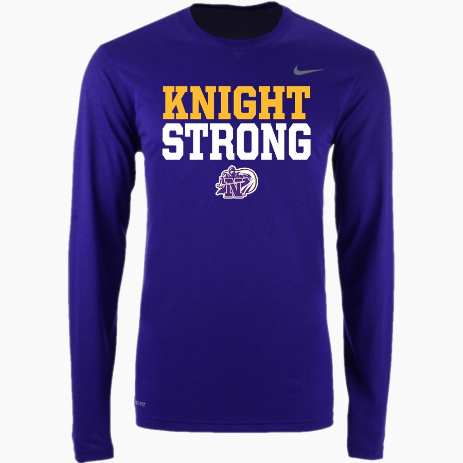 Image of a long sleeved shirt with text knight strong and the knights logo