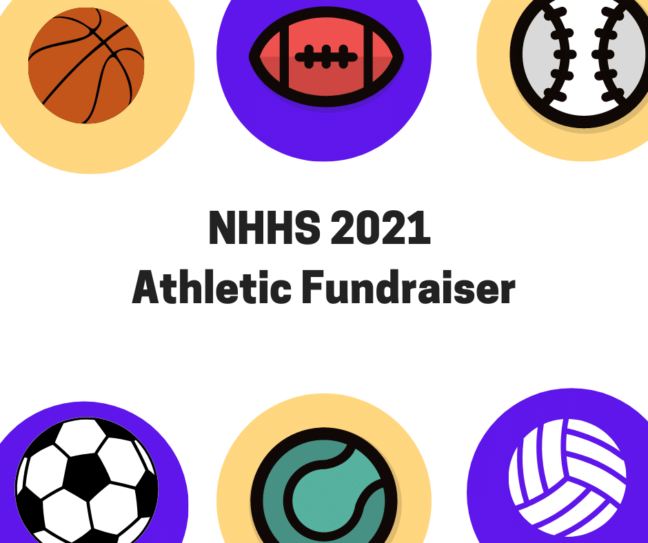 image of various sports balls with text nhhs 2021 athletic fundraiser