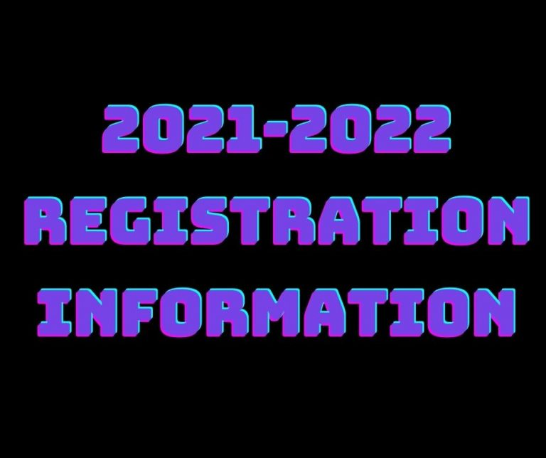 Neon Letters with text 2021-2022 registration information