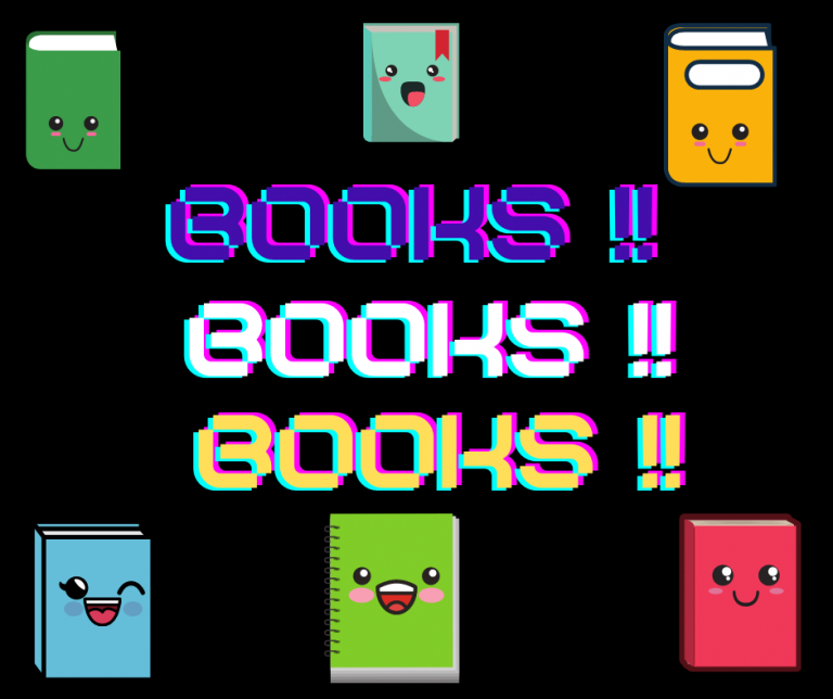 image of books with cartoon faces and text books!! books!! books!!