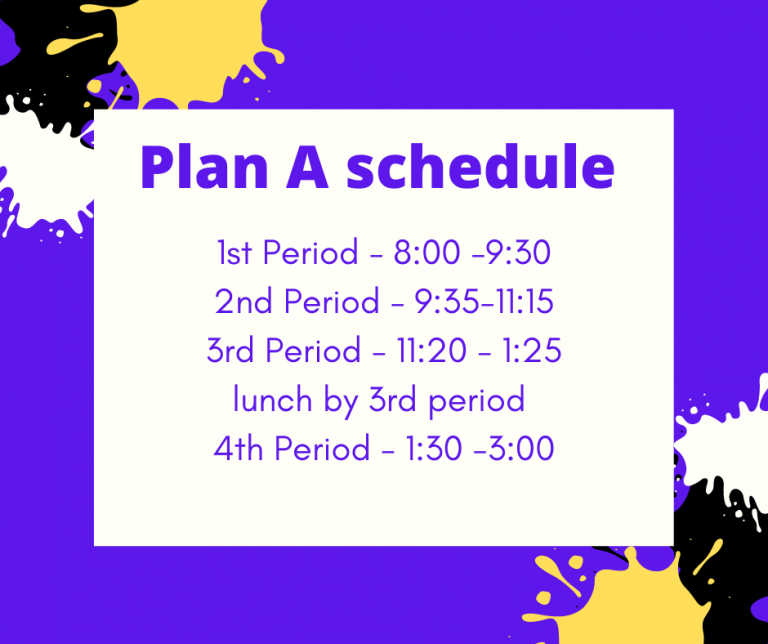 plan a schedule 1st period 8-9:30 2nd period 9:5-11:15 3rd period 11:20-1:30 lunch by 3rd period 4th period 1:30-3:00