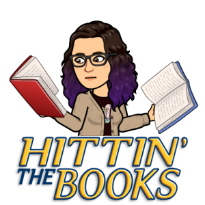 cartoon image of a librarian reading books with text hittin the books
