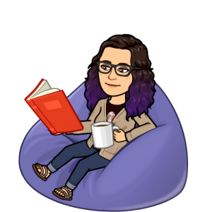 cartoon image of a librarian sitting on a beanbag chair reading a book and drinking coffee