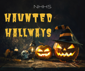 Image of pumpkins with text haunted hallways