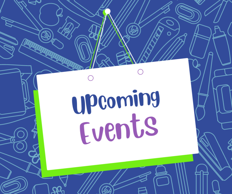 School supplies with text upcoming events