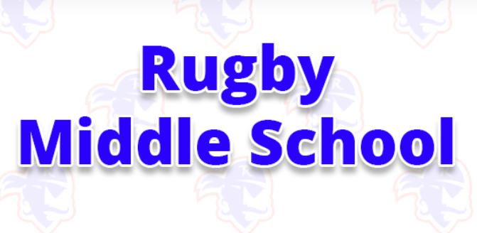Rugby Middle School title with Rugby Raider in the background