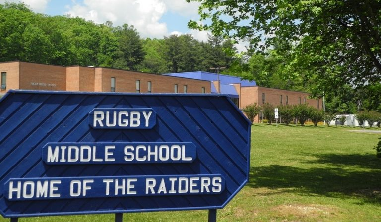 Rugby Middle School and sign
