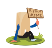 paper bag over a person's head who is holding a sign that says stay home