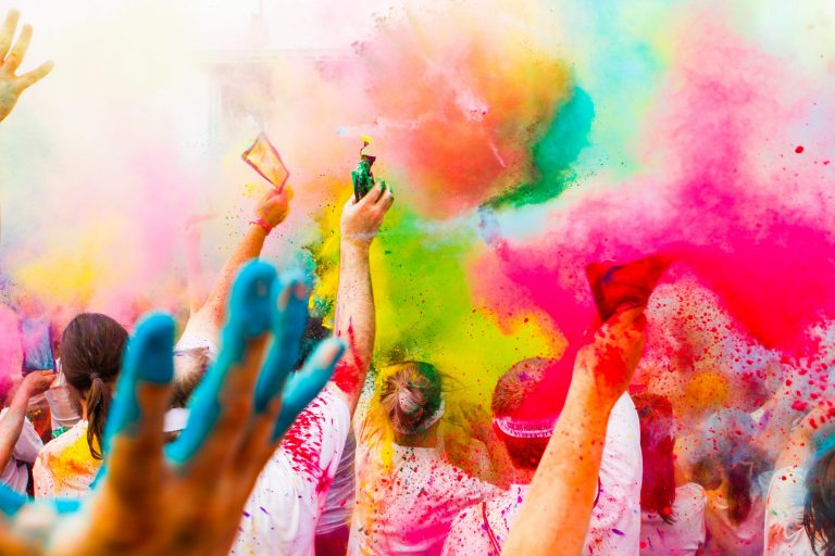 Colorful powder thrown in the air.