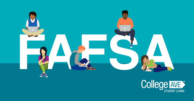 Blue background with white letters 'FAFSA: College Ave student loans' diverse while characters sit amongst the letters studying for school
