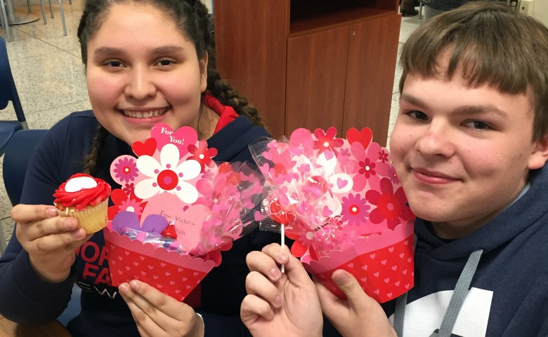Students with Valentines gifts